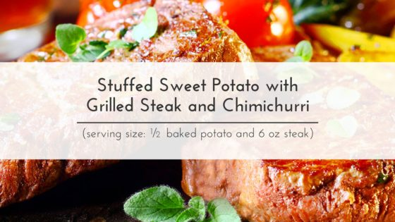 Taut Body Recipe: Stuffed Sweet Potato with Grilled Steak and Chimichurri